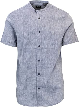 Armani Exchange Camisa casual - para hombre azul S: Amazon.es: Ropa y accesorios