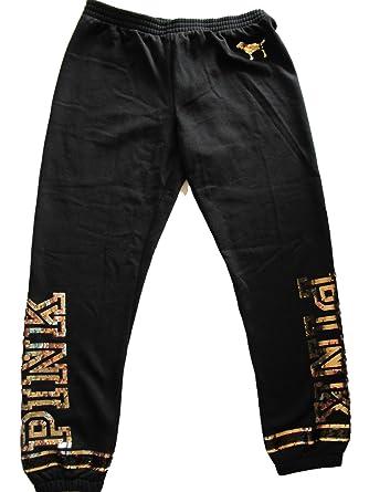 c000fbb4fdfc0 Victoria's Secret PINK Bling Gold Sequin Skinny Pant Sweatpants Black  (Large)