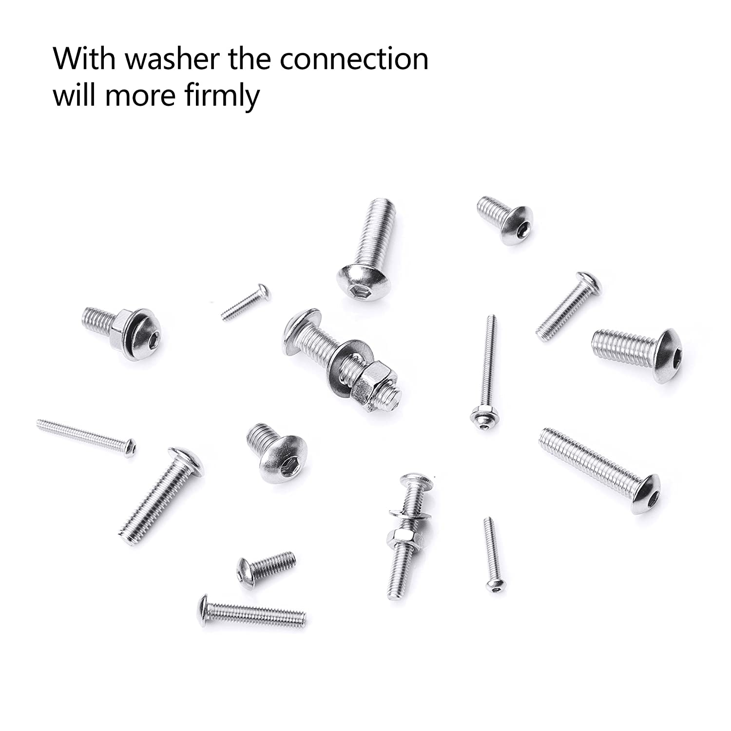 880Pcs M2 M3 M4 M5 Stainless Steel Precise Metric Hex Button Head Cap Self Tapping Screws,Round Flat Socket Bolts and Nuts Set and Washers Assortment Kit Wrench Button Head Cap