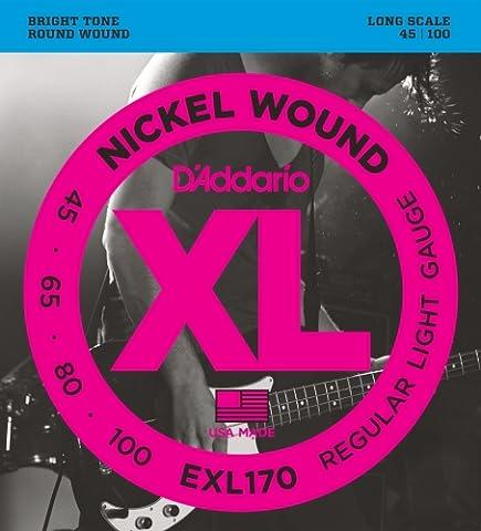 D'Addario EXL170 Nickel Wound Bass Guitar Strings, Light, 45-100, Long Scale (Guitar / Bass)
