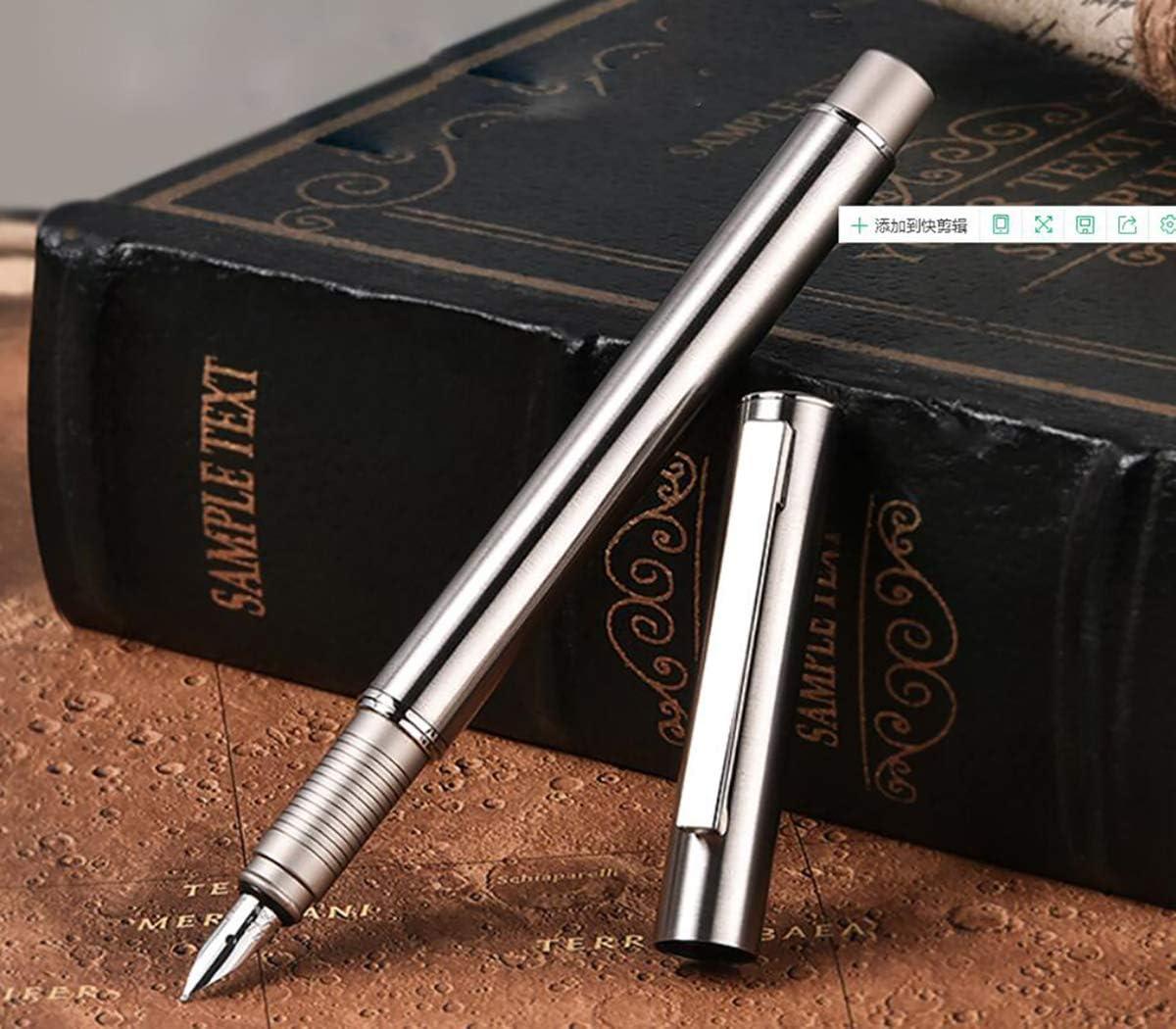 Pluma estilográfica de acero inoxidable de estilo vintage, punta fina con estuche para bolígrafos de HongDian 516: Amazon.es: Oficina y papelería