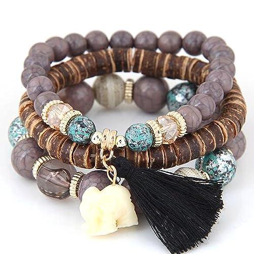 sortie d'usine Nouvelles Arrivées joli design oineke Wood Beads Bracelets Boho Small Elephant Charm Bracelets Set Vintage  Style Jewelry