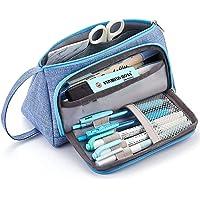 JSBelle Bolsa de transporte de lápiz, Estuche de lápices para oficina de secundaria (Azul claro)