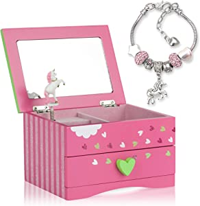 Amitié Lane Unicorn Jewelry Box For Girls - Two Unicorn Gifts For Girls Plus Augmented Reality App (STEM Toy) - Unicorn Music Box and Charm Bracelet (Pink)