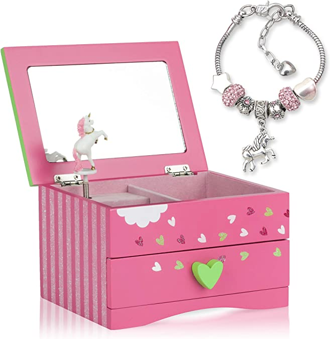 Amitié Lane Unicorn Jewellery Box For Girls - Two Unicorn Gifts for Girls including Pink Unicorn Music Box and Unicorn Charm Bracelet…: Amazon.com.au: Fashion