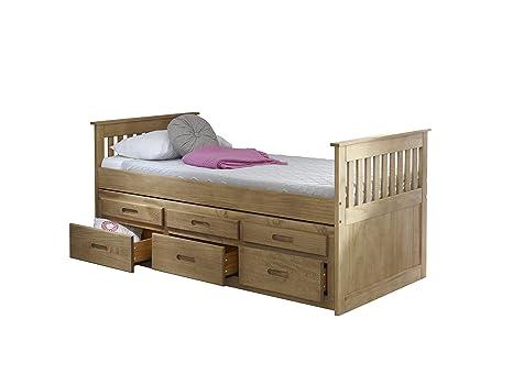 Letto singolo da 90 cm, con secondo letto estraibile e cassetti ...