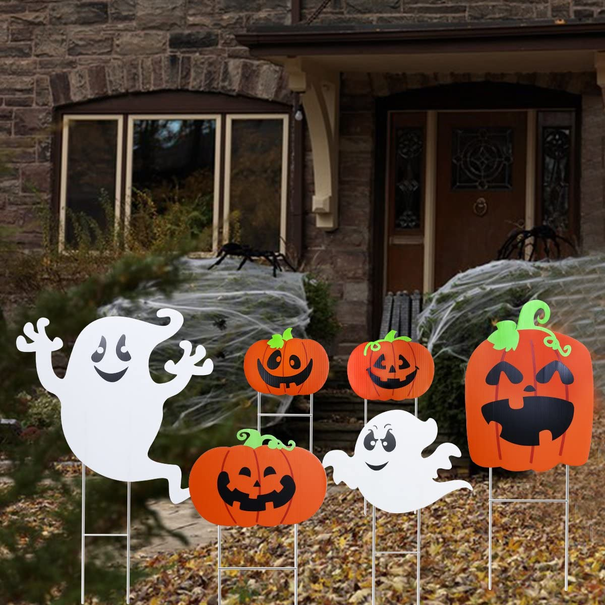 Halloween Yard Sign Set Pumpkin Ghost Spooky Decoration with Stake Halloween Outdoor Accessory 6pcs