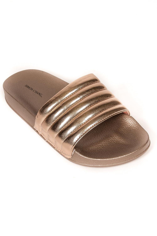 bdbd309396adc Simon Chang Women's Slip-On Comfort Slide Sandals Bling Flat Slippers -  Rose Gold