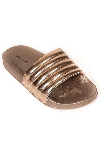 7a59f92f6ec31d Simon Chang Women s Slip-On Comfort Slide Sandals Bling Flat Slippers -  Rose Gold