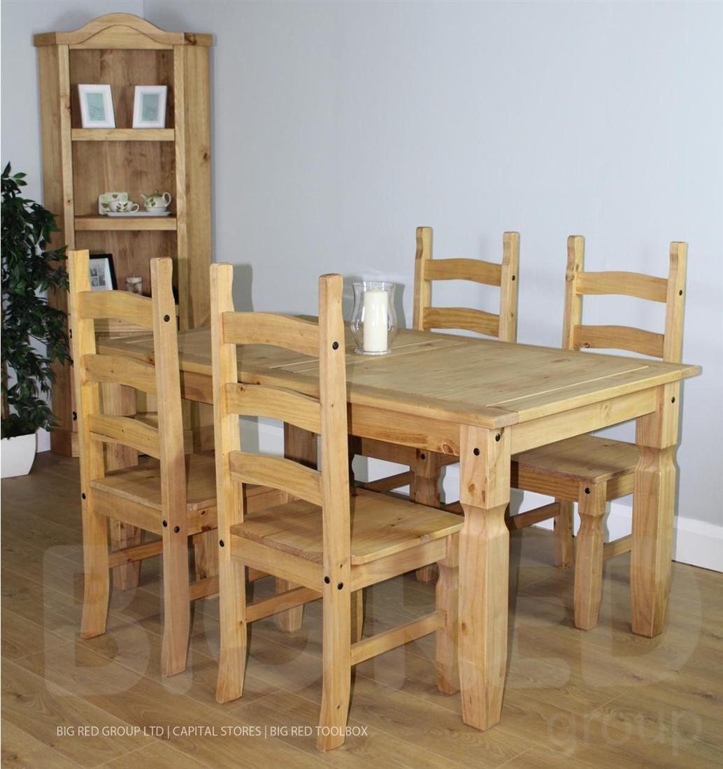 Pine Dining Room Sets: Corona Solid Waxed Pine 5ft Dining Set Table With 4 Chairs