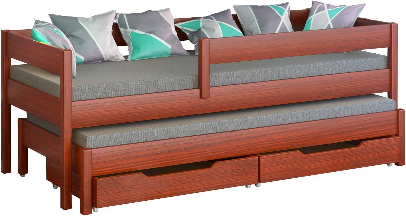 Cama individual para niños de Jula, con nido con dos colchones y cajones-, madera, Palisander, 160x80/150x70