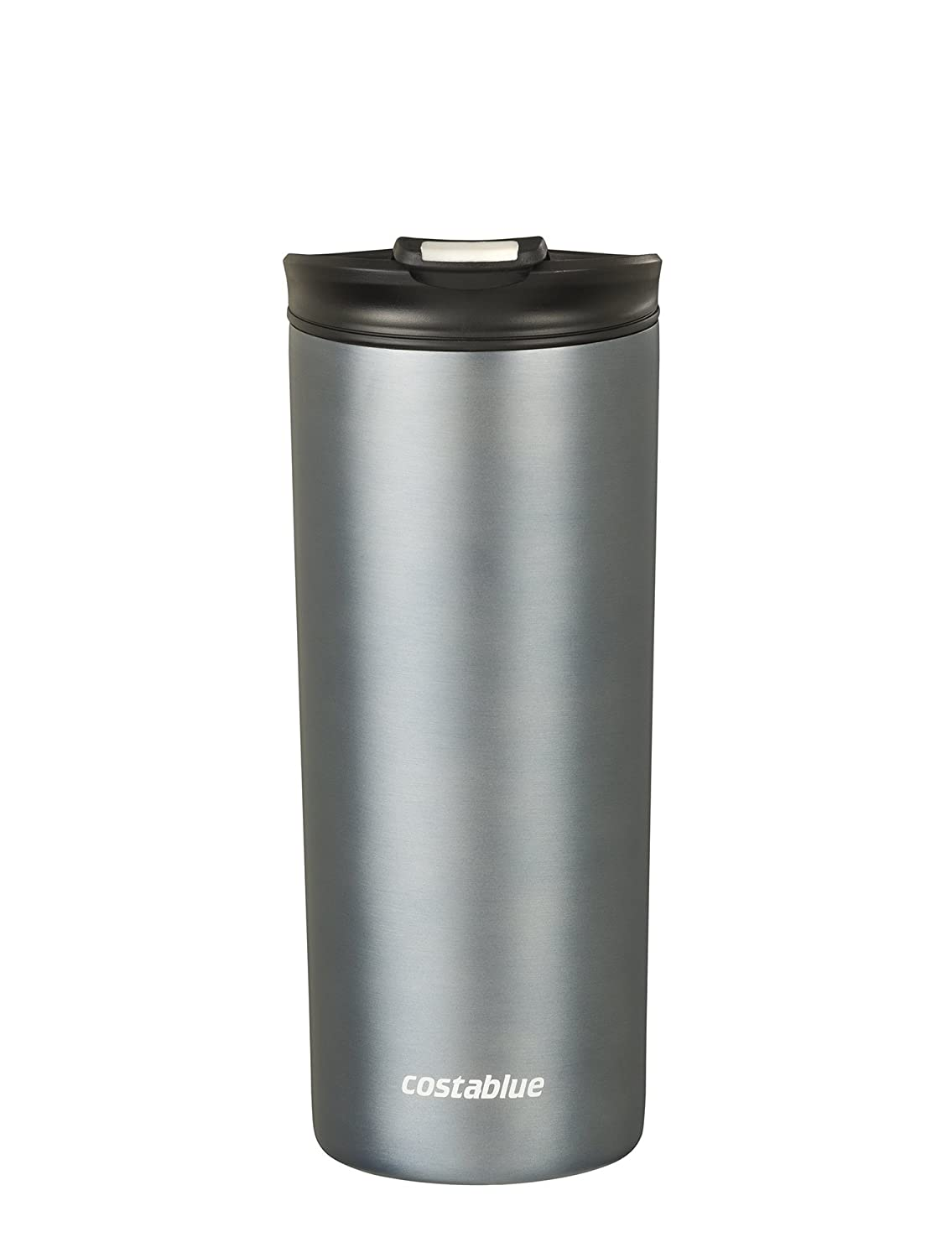 Costablue Vacuum Insulated Stainless Steel Travel mug , 16 Oz Easy to clean and leak proof lid, Color Matte Black