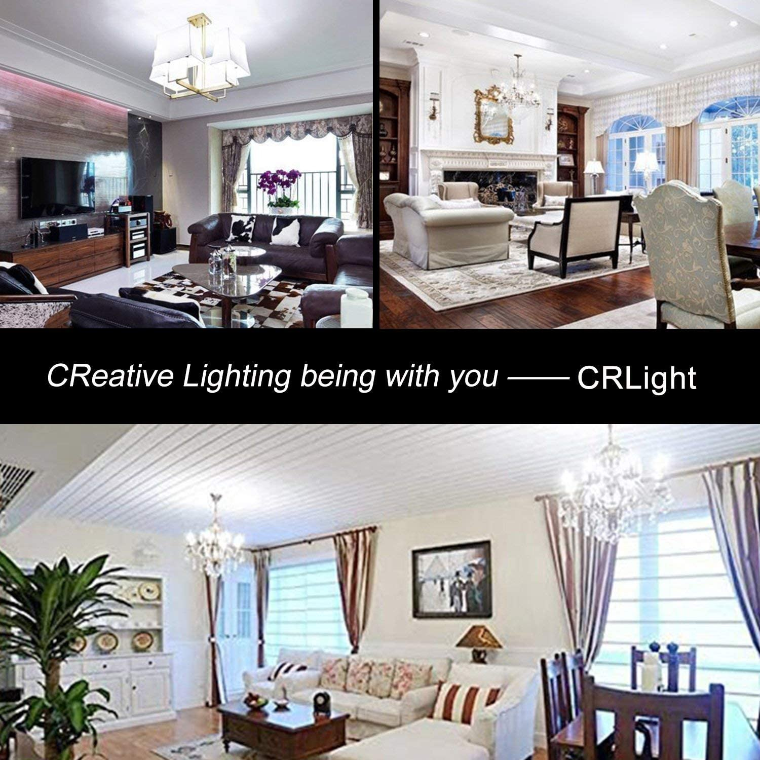 CRLight 2W LED Candelabra Bulb 6000K Daylight White E12 Base Dimmable LED Filament Chandelier Light Bulbs Pack of 8 30W Equivalent 300 Lumens Antique CA11 Clear Glass Candle Flame Tip