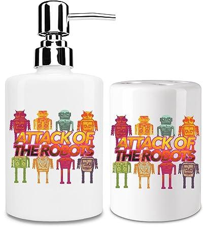Attack Of The Robots Dispensador de jabón y Porta Cepillo de dientes