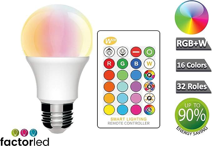 FactorLED PACK 3 Bombillas LED RGB+W Inteligente 10W - E27 con ...