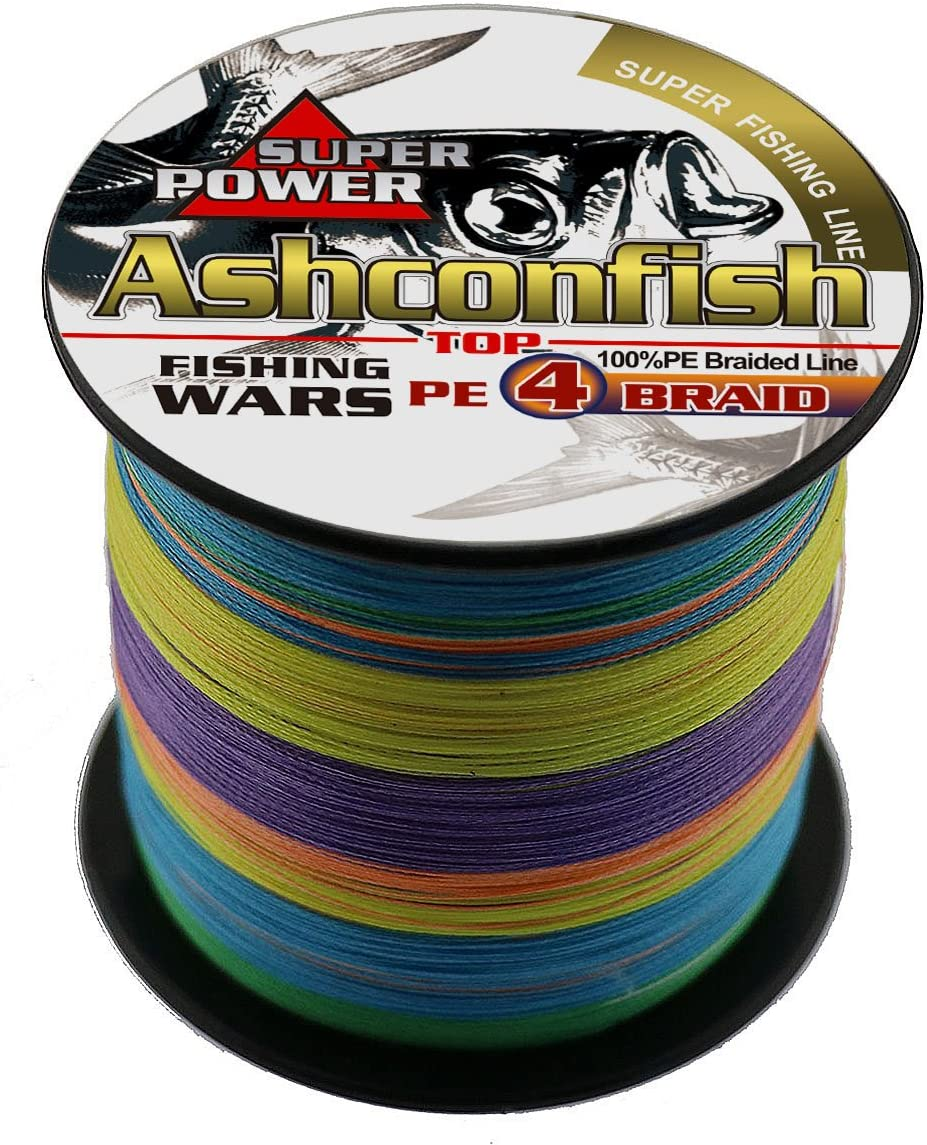 Ashconfish Braided Fishing Line-4 Strands Super Strong PE Fishing Wire Multifilament Fishing String Ultra Power 6LB-100LB Heavy Tensile for Saltwater Freshwater Fishing