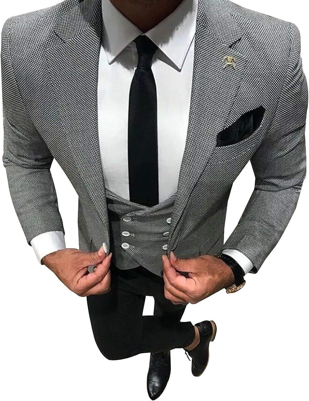 Jacke, Hose und Weste UMISS Herren Karierter formeller Hochzeitsanzug