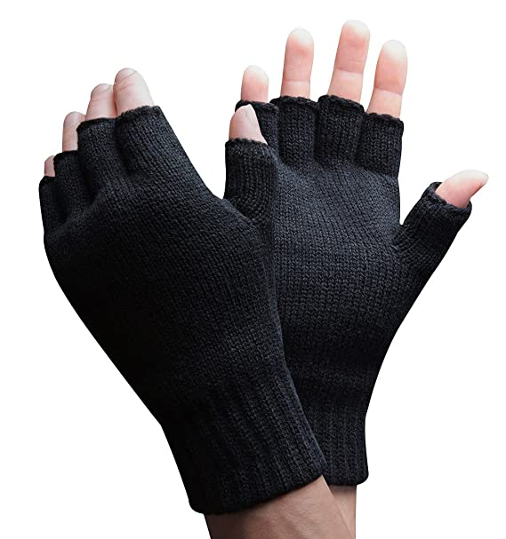 Mens 3m Thinsulate 40 Gram Thermal Insulated Black Knit Winter
