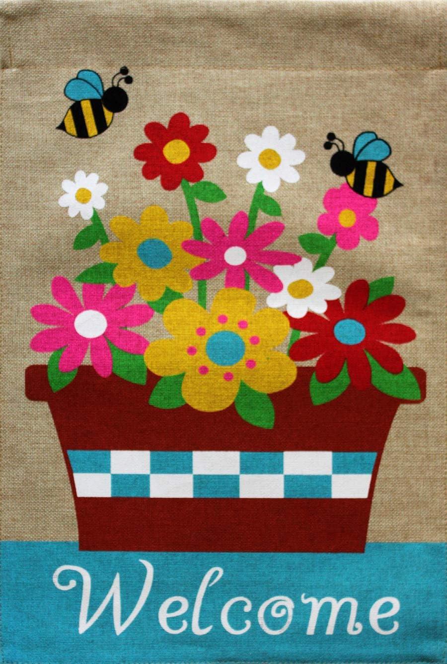"Briarwood Lane Springtime Floral Burlap Garden Flag Welcome Flower Pot 12.5"" x 18"""