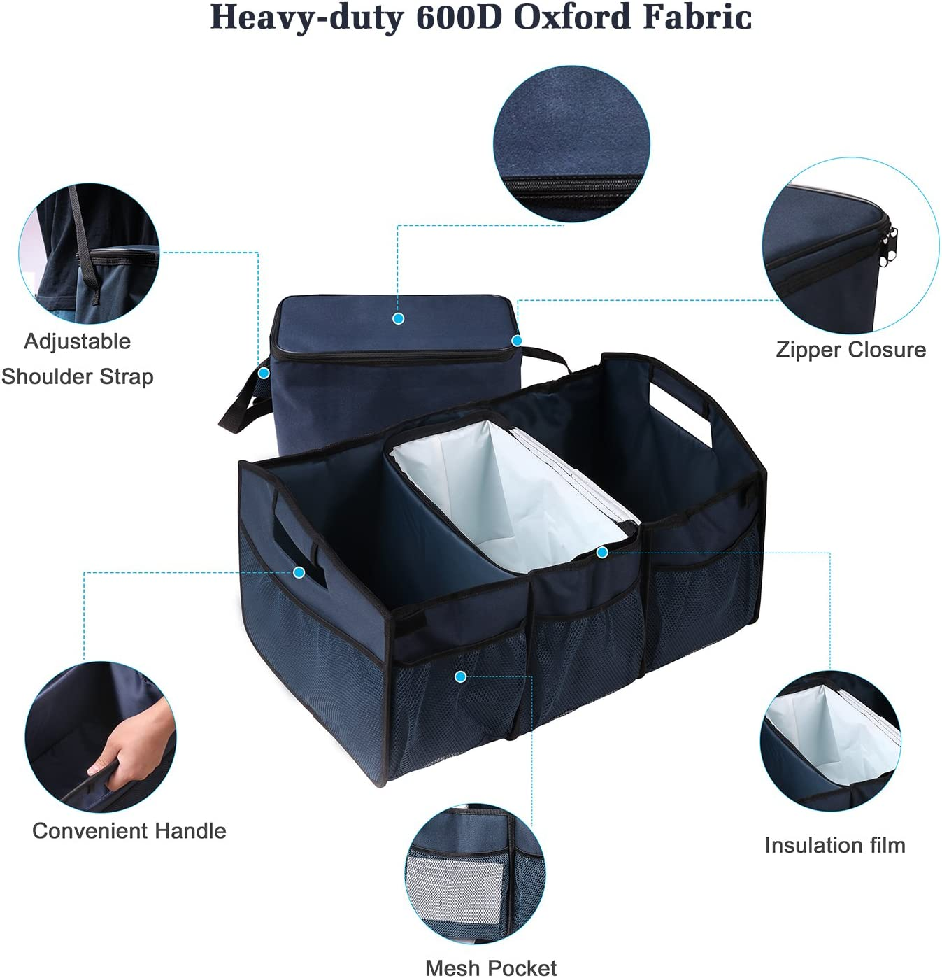 Black//Red line, M Car PU Leather Trunk Organizer Storage,Collapsible /& Waterproof Portable with Premium Insulation Cooler Bag