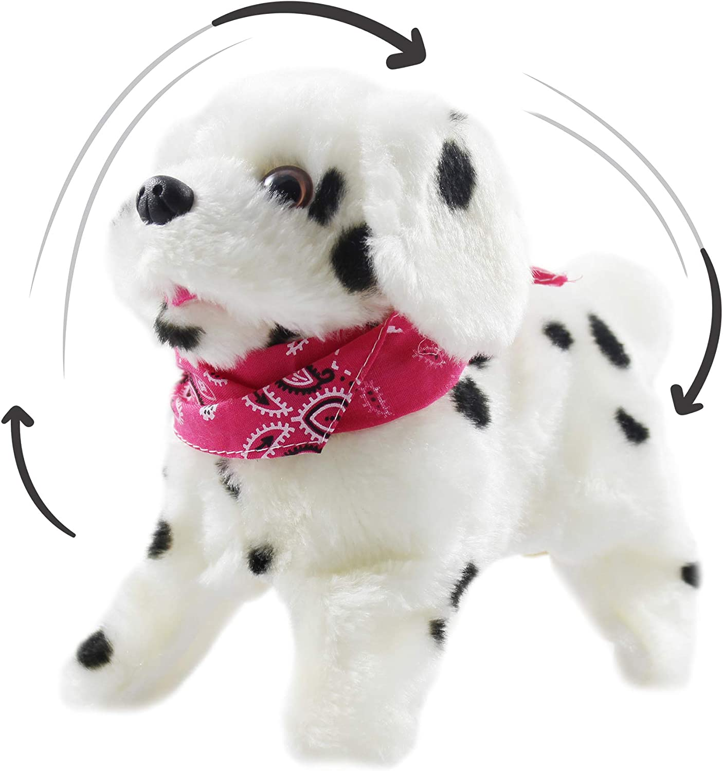"""Kids /& Pets Sitting 7/"""" Tall Gift Toy for Toddlers Haktoys Flip Over Puppy Walking Mechanical Barking Electronic Plush Cute Animal Dalmatian Dog Safe /& Durable Battery Operated Somersaulting"""