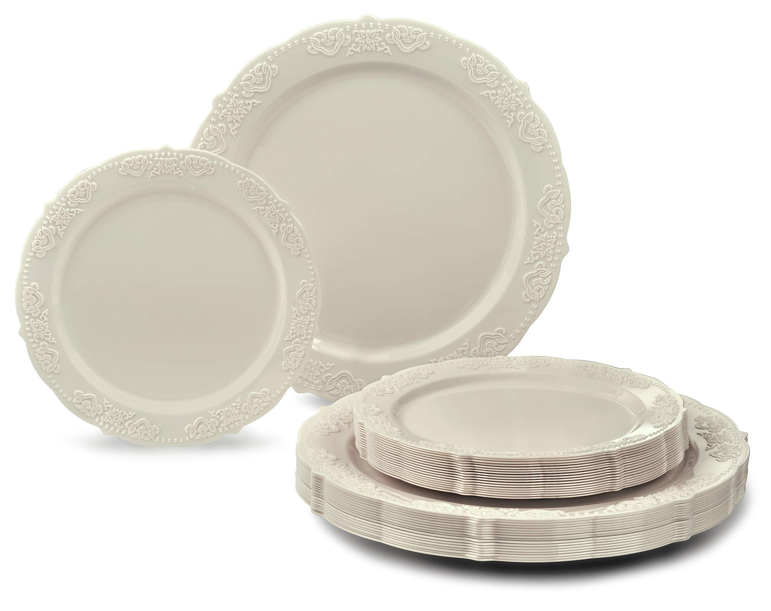 '' OCCASIONS'' 240 PACK Heavyweight Vintage Wedding Party Disposable Plastic Plates Set - 120 x 10.25'' Dinner + 120 x 7.5'' Salad/Dessert Plate (Portofino Ivory)