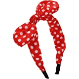 Sea Team Wire Headband With Polka Dot Style Bowknot for Women and Girls Red