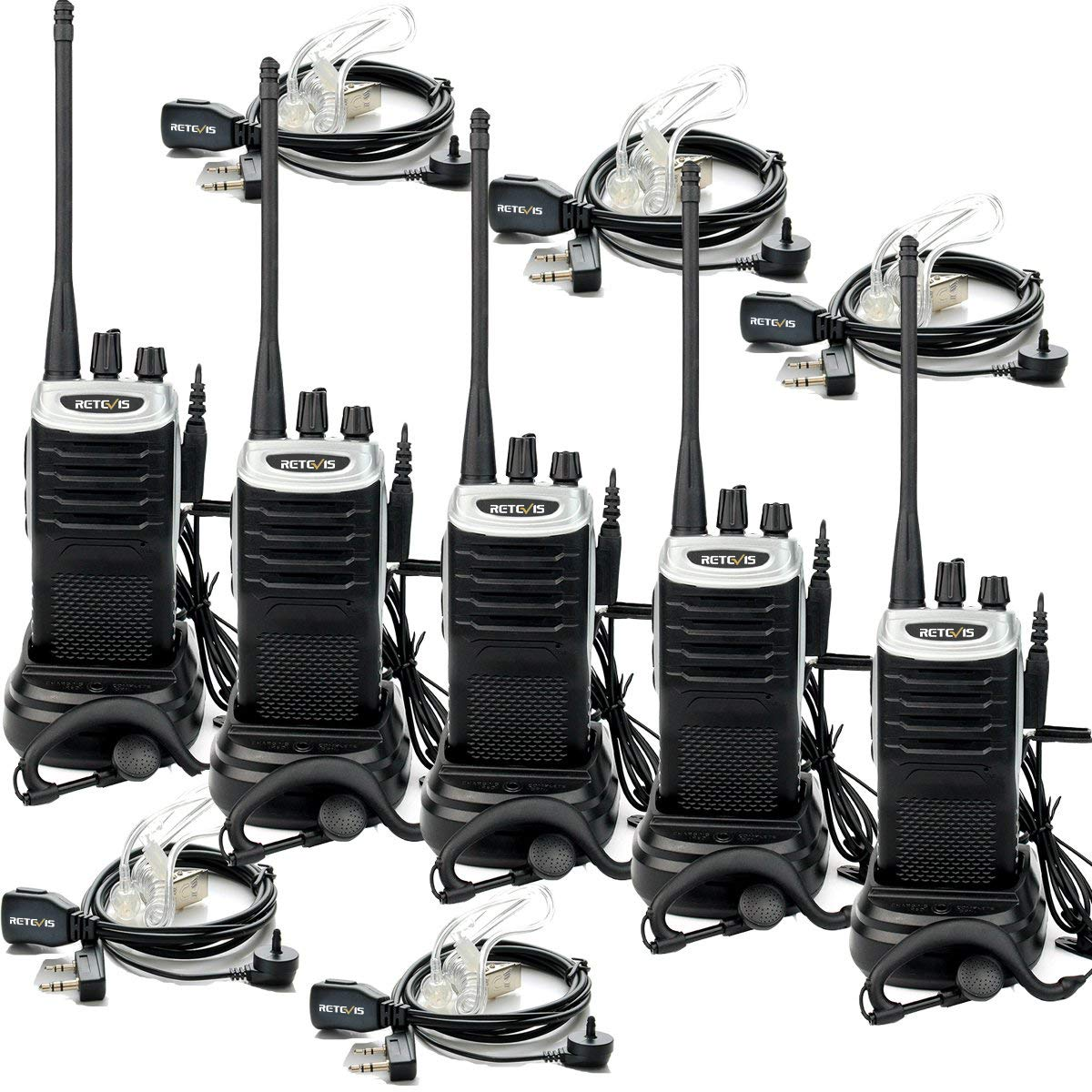 5 Pack Retevis RT7 Two Way Radios USB Rechargeable Hand Free 2 Way Radios UHF Light and Handy Walkie Talkies with Earpiece USA1080A@5-C9001A@5