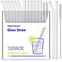 HeykirHome 12-Pack Reusable Glass Straw,Size 8''x10 MM,Including 6 Straight and 6 Bent with 2 Cleaning Brush- Perfect…