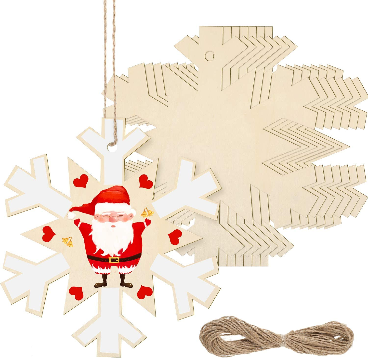 8 Pieces Christmas Wooden Cutouts 11 x 11 Inch Large Wooden Snowflake Cutouts Unfinished Wooden Snowflake with 32.8 ft Twines for Christmas DIY Decor