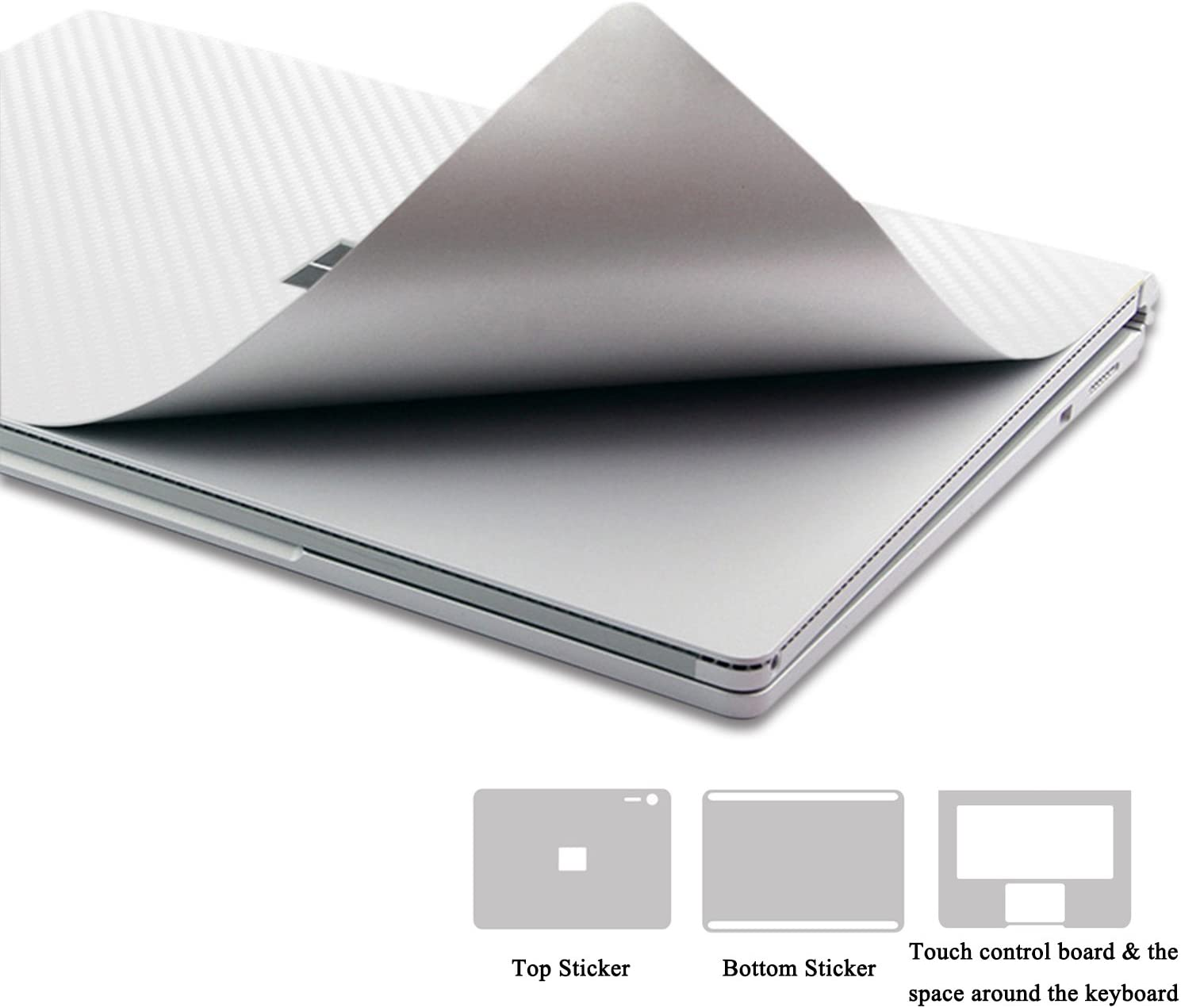 2017 Released MasiBloom Full Body Protector Decal Skin Laptop Cover Sticker for 13 13.5 inch Microsoft Surface Book 2 Core i5 Standard Configuration Version for 13.5 Book 2, Silver