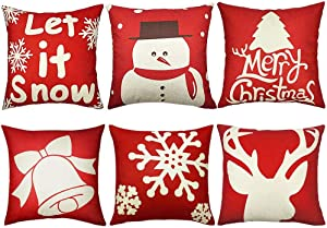 NEWX 6PCS Christmas Pillow Covers 18x18 Christmas Decorations Christmas Throw Pillow Cover Decorative Cushion Pillowcase Shams Home Décor Xmas Gifts