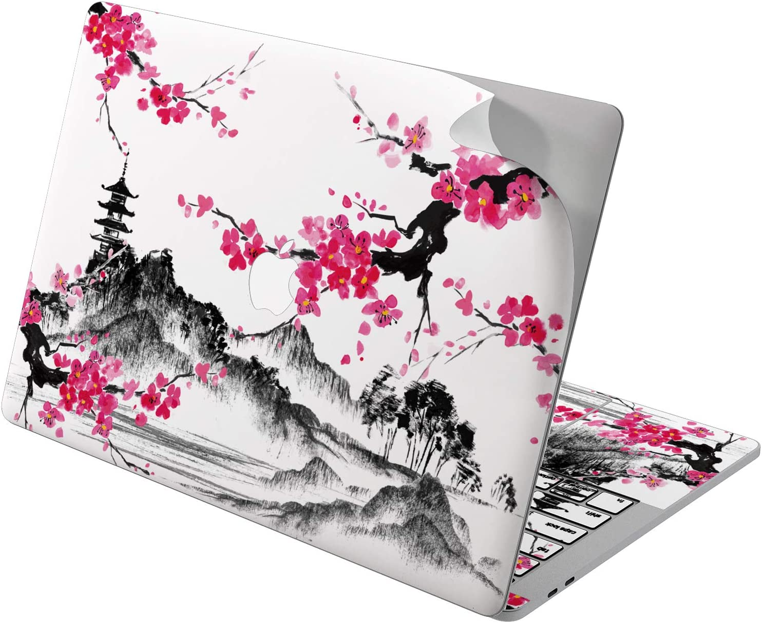 "Cavka Vinyl Decal Skin for Apple MacBook Pro 13"" 2019 15"" 2018 Air 13"" 2020 Retina 2015 Mac 11"" Mac 12"" Sticker Cover Flowers Art Cherry Sakura Japanese Laptop Blossom Design Print Pink Protective"