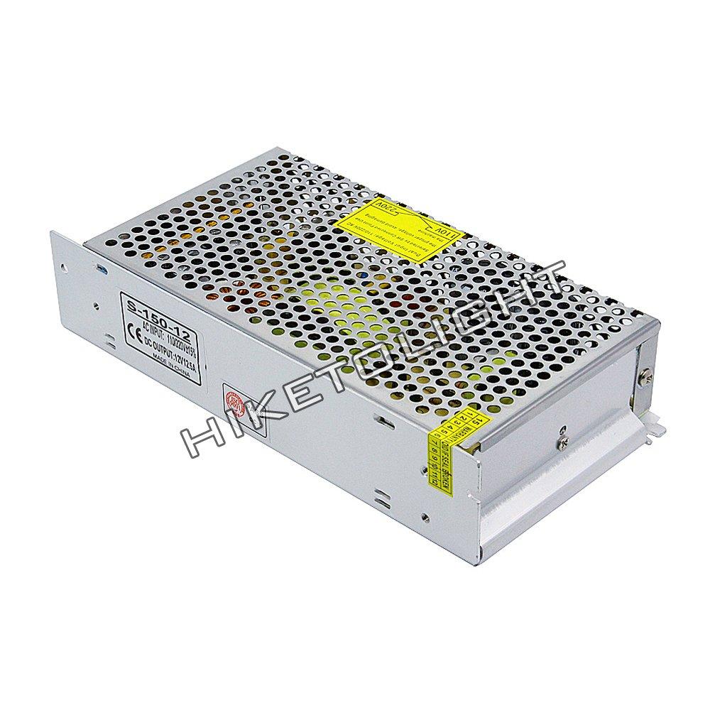 MOVINGTECH LED Power Supply DC Output 12V 12.5A 150W Aluminum Box Universal Regulated Switching Adaptor Transformer Driver AC Input 110/220V for 12V LED Strip Module CCTV