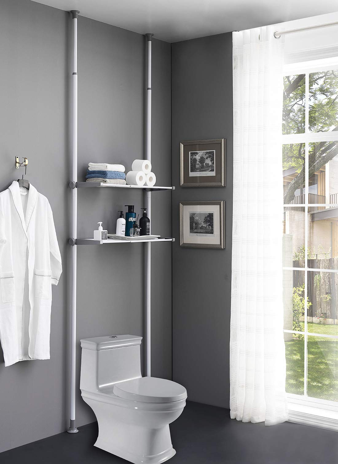 ALLZONE Bathroom Organizer, Over The Toilet Storage Rack, Over The Washer Shelf for Laundry Room, No Drilling, Extremely Easy to Assemble, Height and Width Adjustable with Ample Space by ALLZONE