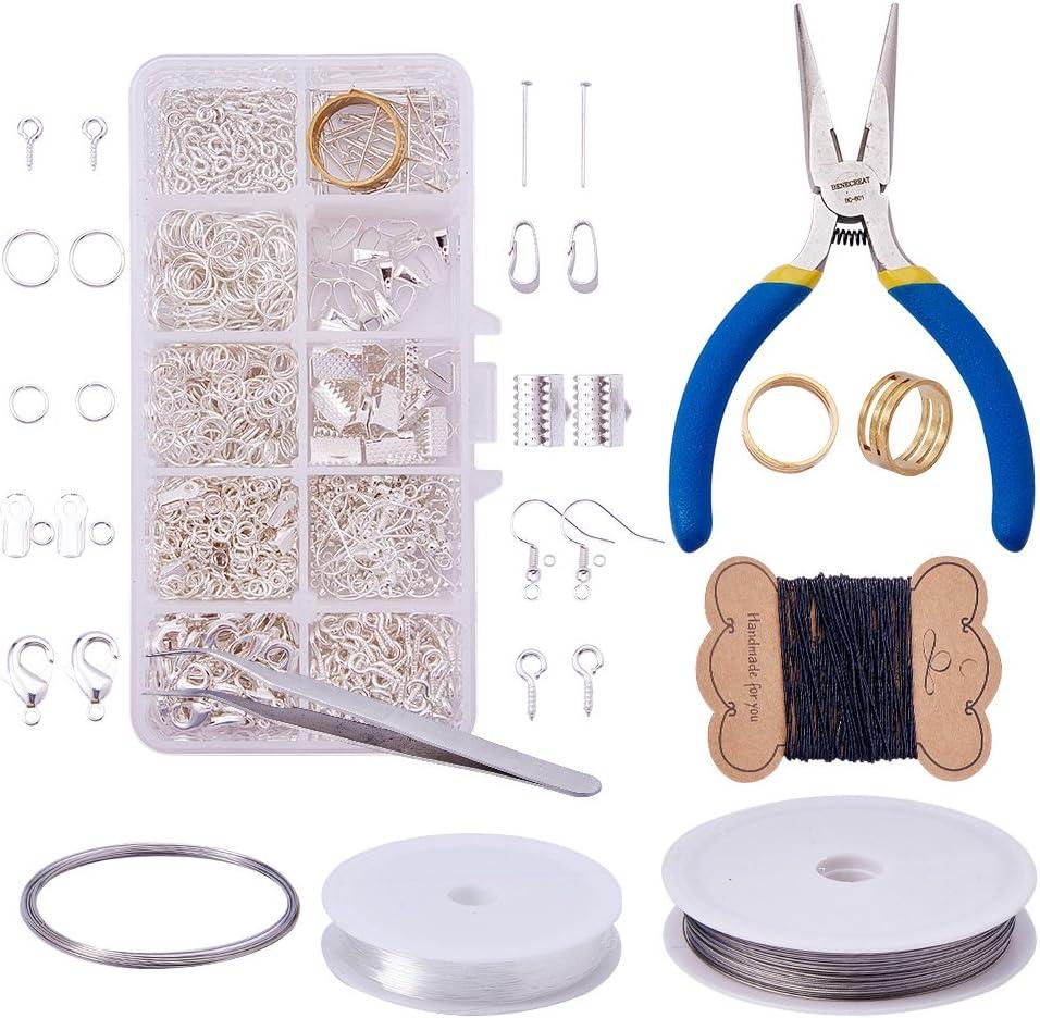 Pandahall Elite–Kits de joyería de tuercas Jump Rings cierres de garra de langosta en latón tornillo con anilla ganchos pendientes de perlas crimpadora en latón, bronce antiguo, plata, 3~130mm