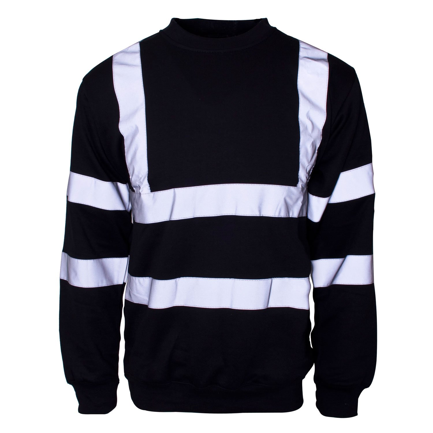 Hi Vis - Navy Sweatshirt with reflective strips, size S - 4XL, security, tradesmen etc. Photo is Black, but the item is Navy