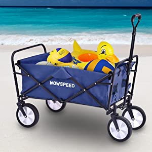 """Folding Beach Wagon Cart,Heavy Duty Collapsible Utility Wagon with 8"""" All Terrain Wheels,Adjustable Handle,Large Capacity Portable Rolling Buggies Outdoor Garden Cart for Beach Camping Shopping"""