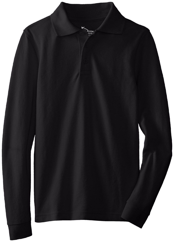 Classroom Big Kids Boys' Uniform Long Sleeve Pique Polo, Sos Black, XL