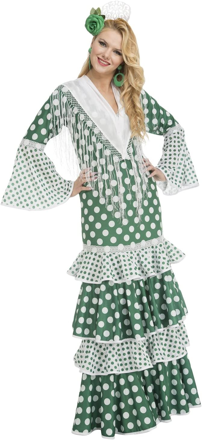 My Other Me Me-203868 Disfraz de flamenca feria para mujer, color verde, S (Viving Costumes 203868)