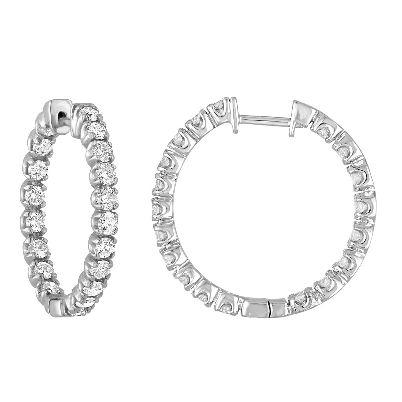 3 cttw Certified SI2-I1 14K White Gold Diamond Inside Out Hoop Earrings (G-H)