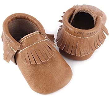 e63285573dfe Amazon.com   First Steps Moccasins for Babies. Soft Soled Baby Shoes That  Make Perfect Walking Shoes for Babies. (Light Brown
