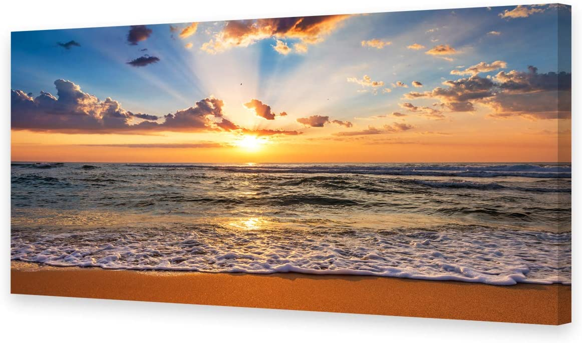 Muolunna BK1850 Wall Art Decor Large Canvas Print Picture Sunrise Ocean Beach 1 Panel Waves Scenery Modern Painting Artwork for Office Wall Decor Home Decoration Stretched and Framed Ready to Hang