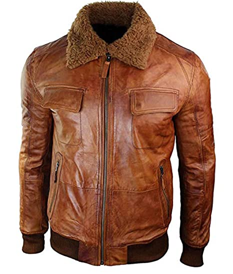 Hemskin Men S Bomber Real Leather Jacket With Fur Collar At Amazon