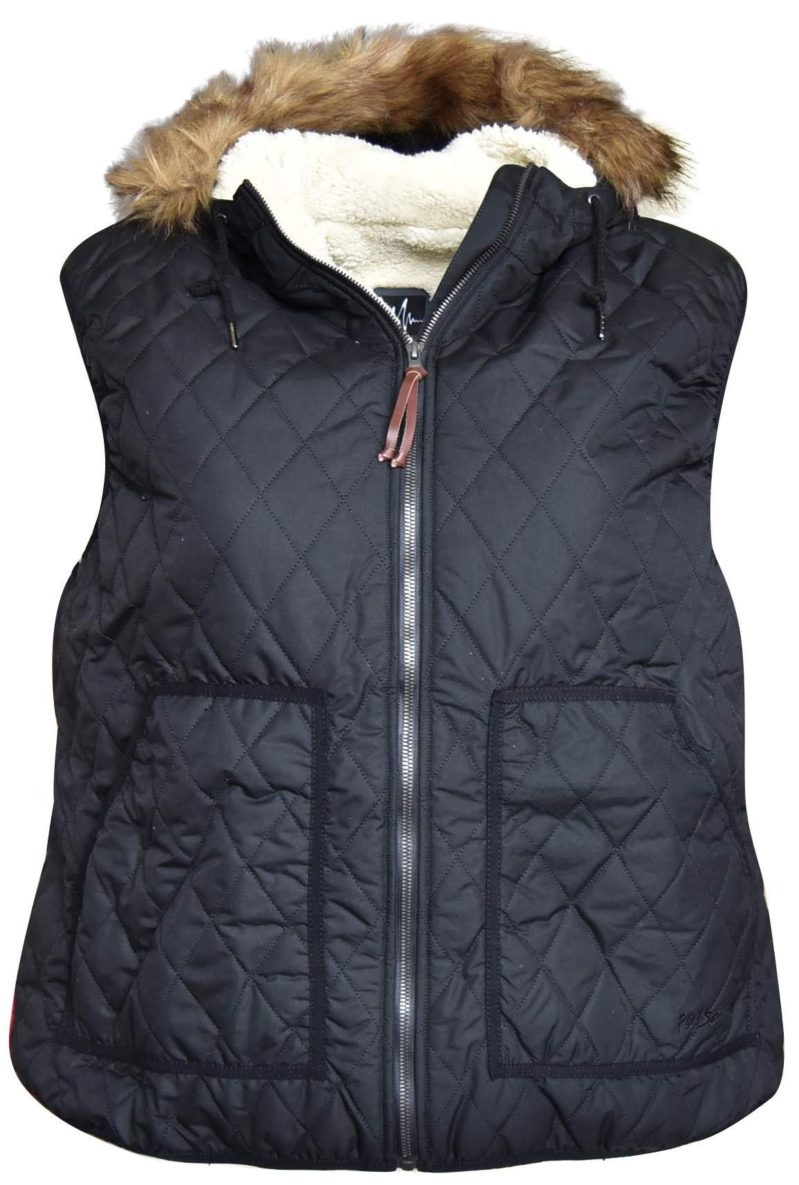 Pulse Womens Plus Extended Size Bleeker Insulated Sherpa Vest (3X (24), Black) by Pulse