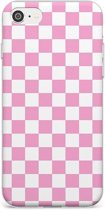 Rosa a Scacchi Slim Cover per iPhone 7/8 / SE TPU Protettivo Phone Leggero con Modelli Astratto Plaid Scacchiera Dama