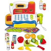 FUNERICA Durable Cash Register Toy Set For Boys & Girls | Educational Pretend Play Food & Supermarket Toys with Working Mic, Scanner & Calculator | Cuttable Fruit, Bottles & Cards