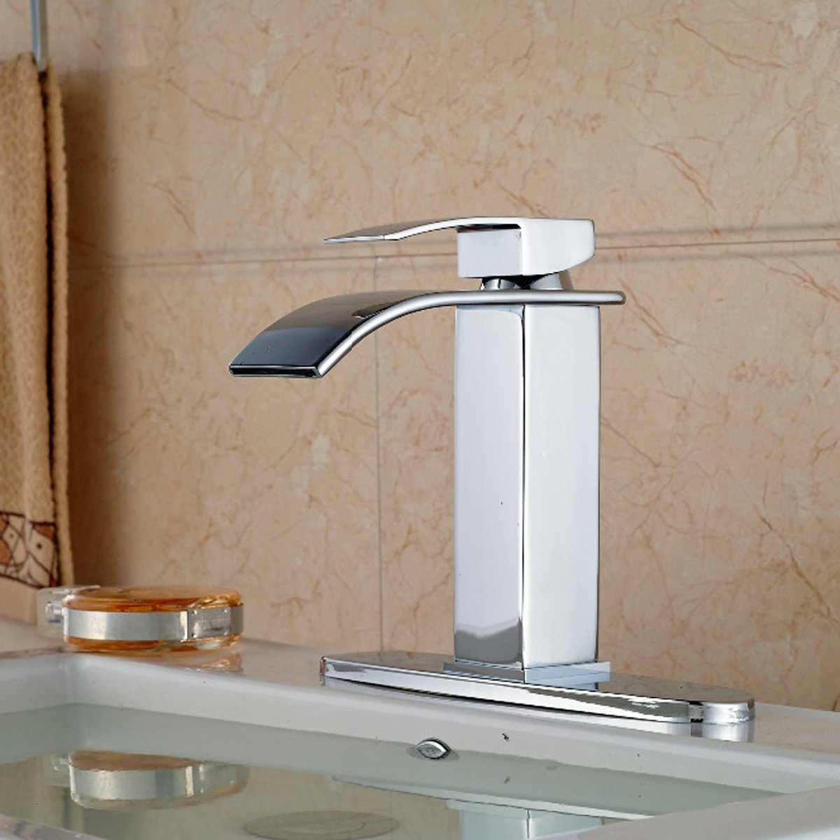 Zovajonia Chrome Waterfall Spout Bathroom Sink Vessel Vanity faucets ...