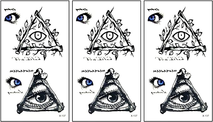 Amazon Com Parita Small Tattoos Blue Eye Illuminati Pyramid Tree Cartoon Tattoo Stickers For Women Kids Men Body Art Fake Tattoo Decorations Arms Legs Hand Neck Wrist Art Fashion Party Pack 3 Pcs
