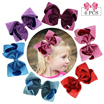 Handmade Baby Girl Sequins Ribbon Boutique Bow Hair Clip Alligator Pin